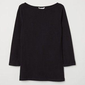 ✨ BNWT ✨H&M Black Boat-Necked Jersey Top
